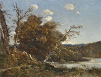 autumn landscape with washerwoman at the river by henri joseph harpignies