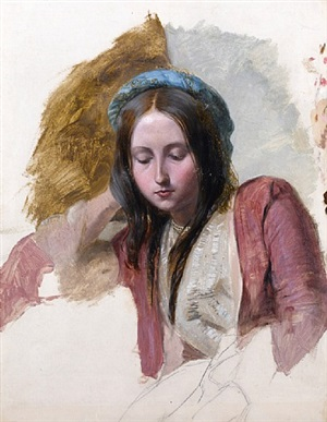 study of a young woman in eastern costume by british school