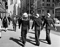 three sailors walking on fifth avenue in midtown, new york, ny by alfred eisenstaedt