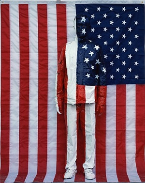 hiding in the city no. 62 - american national flag by liu bolin