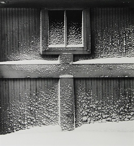 snow on garage door, rochester, new york by minor white