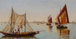 fishermen on the venetian lagoon (pair) by antonietta brandeis
