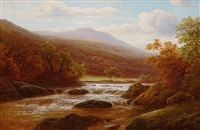 on the glaslyn, n. wales (pair) by william mellor