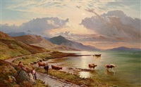 cattle watering in the highlands by sidney richard percy