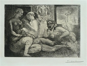 four nude women and a sculpted head (vollard suite pl. 82) by pablo picasso