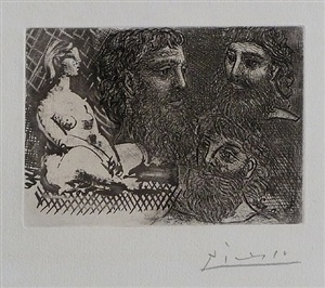 seated womand and three bearded heads / femme assise et trois tetes barbues by pablo picasso