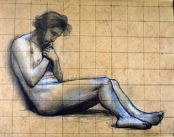 homme barbu à demi-couché, étude pour le fils prodigue by pierre puvis de chavannes