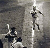 jackie robinson steals home, subway series, 1955 by ralph morse