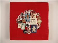 flying dog and friends medium red circle by roy kortick