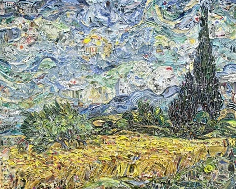 wheat field with cypresses, after van gogh (pictures of magazines 2) by vik muniz