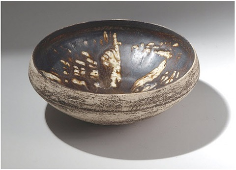 early 1950s bowl - giacometti decoration by hans coper
