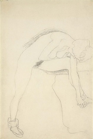 nude leaning forward with leg raised to the right by gustav klimt