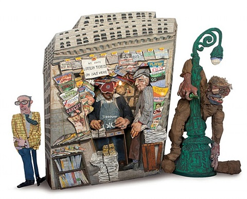 from ruckus manhattan: wall street – newsstand, lamppost and bum by red grooms