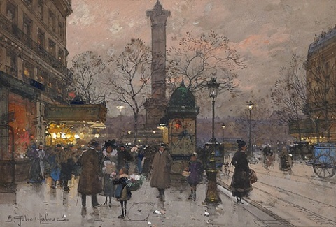 la bastille, paris by eugène galien-laloue
