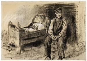 peasant at the cradle by max liebermann