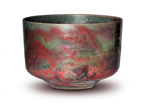 large straight sided bowl, copper red and green by gertrud and otto natzler