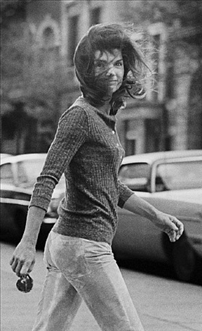 """windblown jackie"", jackie onassis walking on madison avenue, new york, october 7, 1971 by ron galella"