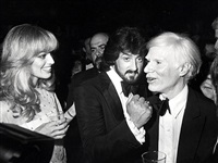 susan anton, sylvester stallone, and andy warhol at the opening of andy's whitney museum exhibit, new york, november 20, 1979 by ron galella