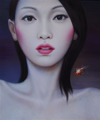 untitled china girl fish by zhang xiangming