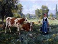 laitiere gardant ses vaches by julien dupré