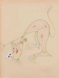 cat lady with skull by jean cocteau