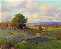 bluebonnet landscape by robert william wood