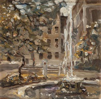 fountain in parkland by john lavery