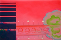 brilliant pink green dark screen, green zone series by wanda koop