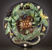 french palissy ware charger by barbizet