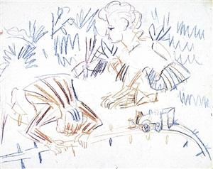 spielende kinder im gras mit eisenbahn by ernst ludwig kirchner