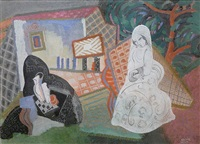 composition avec femme en blanc, undated by béla kádár