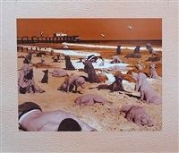 dogs on the beach by sandy skoglund