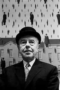 rené magritte at the museum of modern art, new york by steve schapiro