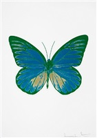 the souls i – turquoise/cool gold/emerald green by damien hirst