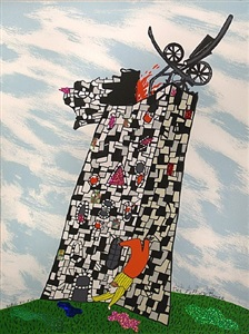 the falling tower card no. xvi by niki de saint phalle
