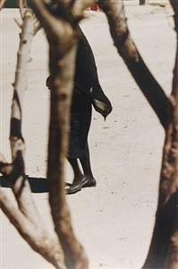 woman in black seen through trees by saul leiter