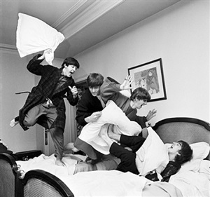 beatles pillow fight, paris by harry benson