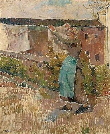 femme étendant du linge by camille pissarro