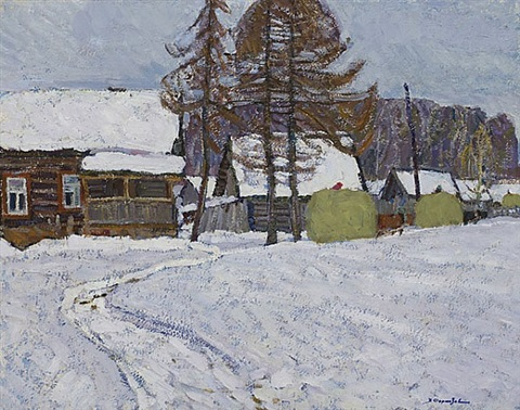 haystacks and village in winter by valerian formozov