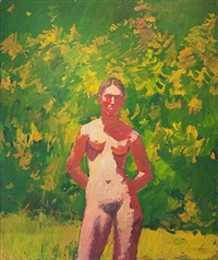 red nude with green background by eugene leake