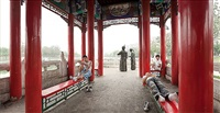 young men, red pavillion, yanliuqing, tianjin city, prc by philipp scholz rittermann
