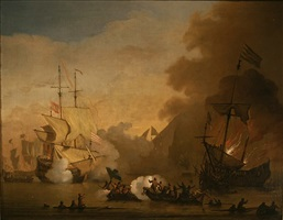 action between the barbary pirates & his majesties ships by willem van de velde the younger