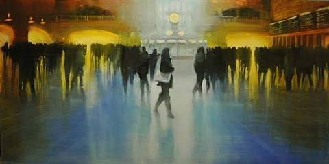 nyc, grand central station, blue atmosphere (sold) by david allen dunlop