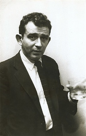 a young norman mailer with drink by robert frank