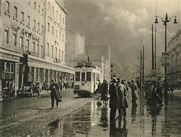 rainy street with tram in brussels, belgium by léonard misonne