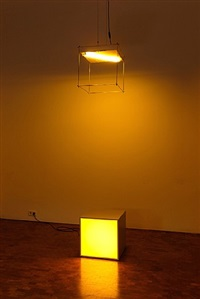 international aluminium double cube triangle - yellow by angela bulloch