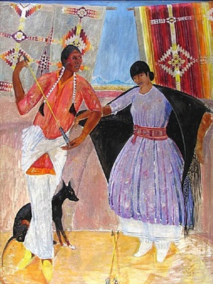 taos couple with dog (untitled) by dorothy eugenie brett