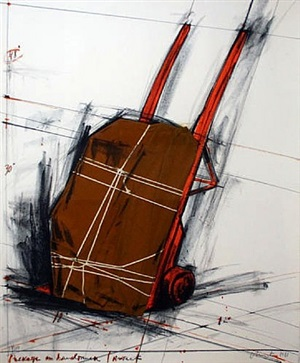 package on hand truck by christo and jeanne-claude