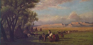 encampment with teepees and native americans (sold) by william de la montagne cary