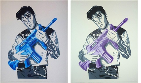 dont be cruel purple and blue set by mr brainwash